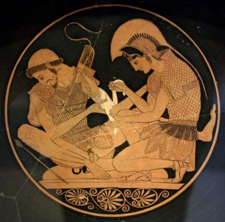 Achilles tending Patroclus, Antikensammlung Berlin. Image from Wikimedia Commons